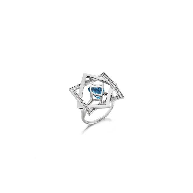 Uniq Design - Gümüş Aquamarine Taşlı Yldız Yüzük