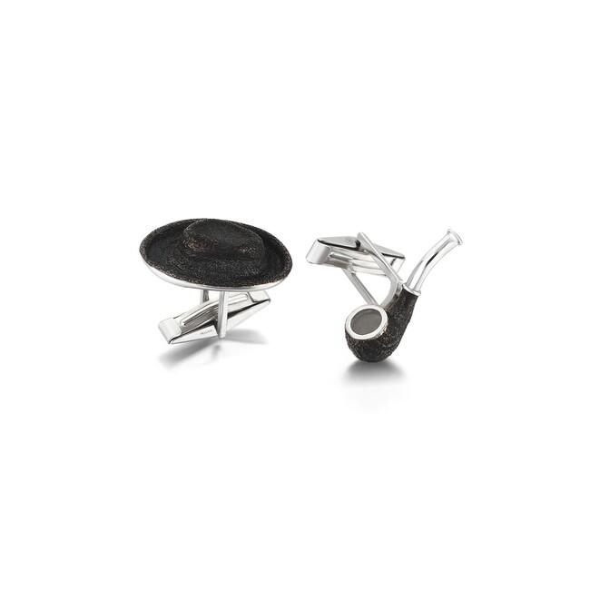 Sabancı Collection - Erkek Şapka & Pipo Gümüş Kol Düğmesi