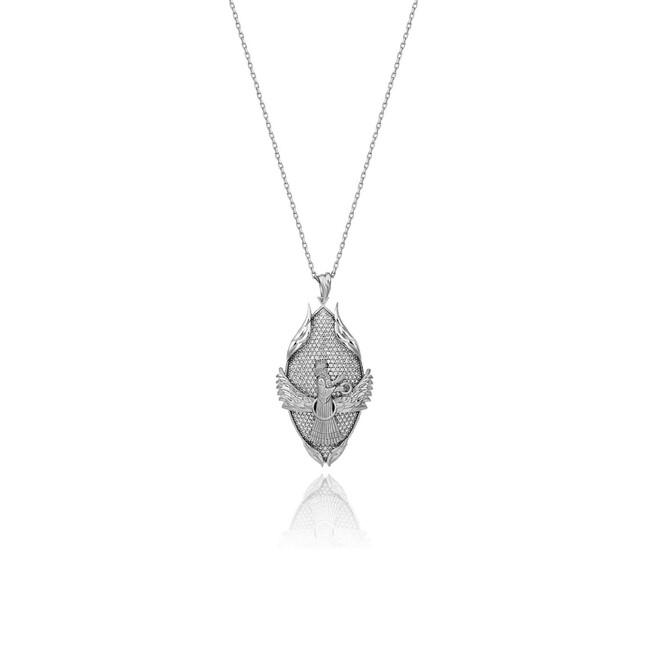 Uniq Design - Gümüş Farvahar ve Ateş Kolye