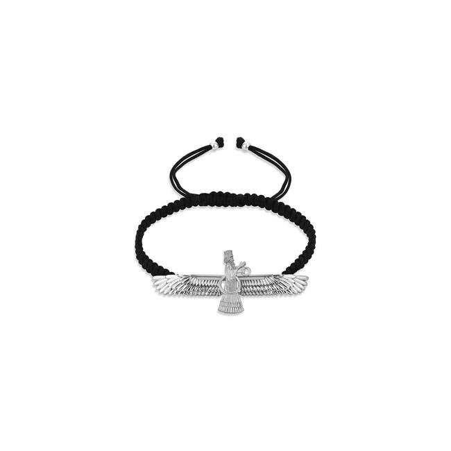Farvahar Collection - Gümüş Farvahar İp Bileklik