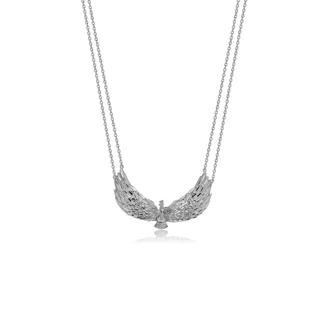 Farvahar Collection - Gümüş Farvahar Kanat Figürlü Kolye