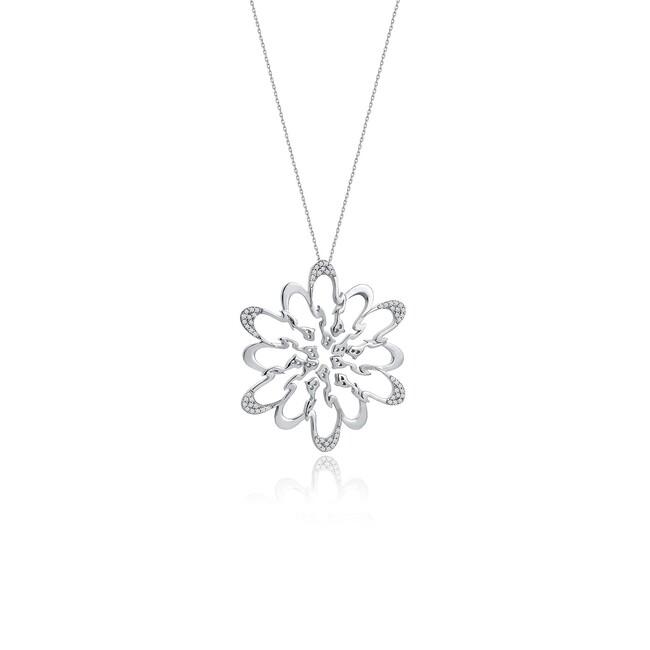 Rumi Collection - Gümüş Hiç Yuvarlak Taşlı Kolye