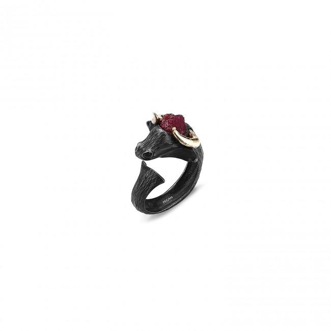 Matador Collection - Matador Altın Boynuz Siyah Ruby Yüzük