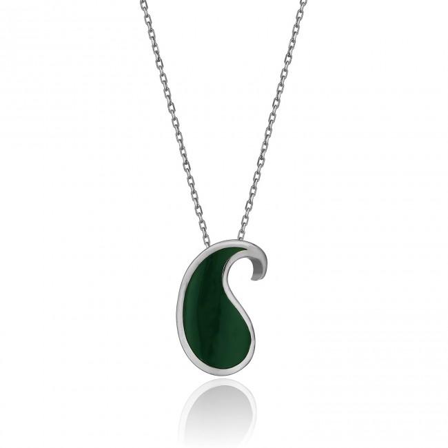Shems Collection - Yeşil Mineli Gümüş Botte Kolye