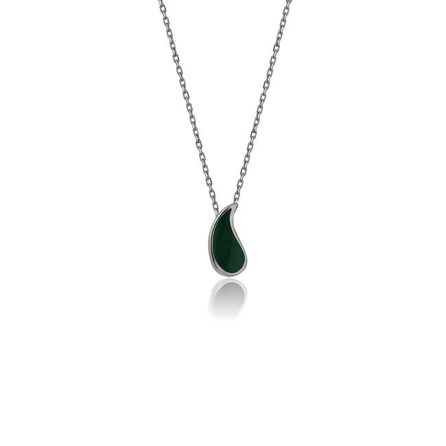 Uniq Design - Yeşil Mineli Gümüş Botte Kolye