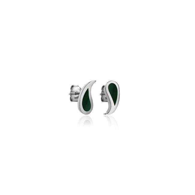 Uniq Design - Gümüş Botte Yeşil Mineli Küpe